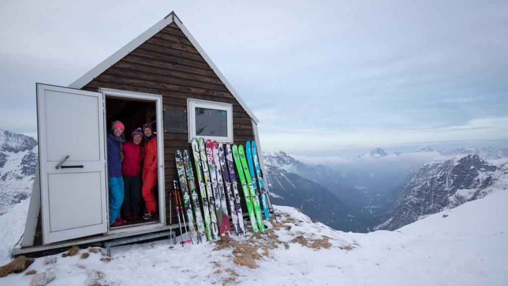 brigid mander in a bivi hut in Julien Alps